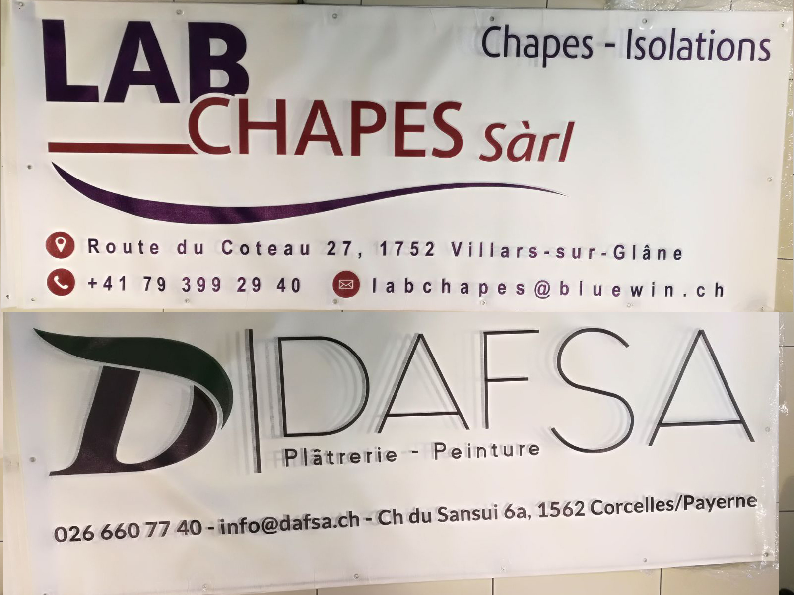 Publicité vehicule vitrine enseigne marquage adhesif publicitaire lausanne vaud suisse ( baches chantier